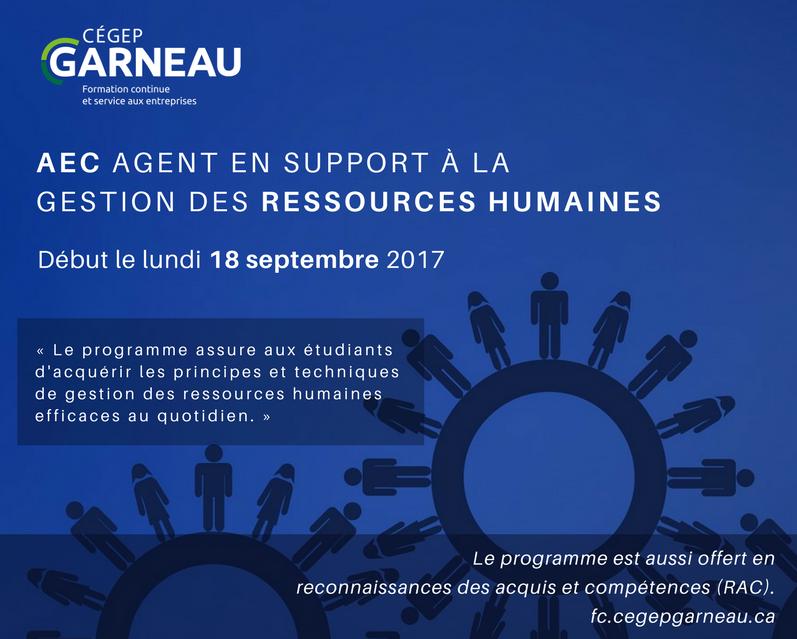 Départ confirmé pour l'AEC Agent en support à la gestion des ressources humaines